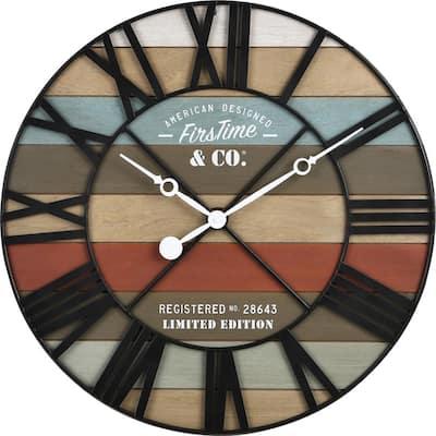Colorful Maritime Farmhouse Planks Clock