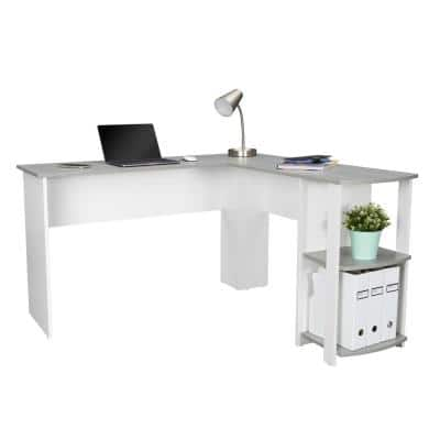 54 in. L-Shaped Gray Computer Desk with File Storage