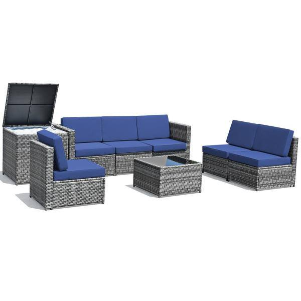 Costway 8 Piece Wicker Outdoor, Corvus 8 Piece Grey Wicker Patio Furniture Set With Blue Cushions