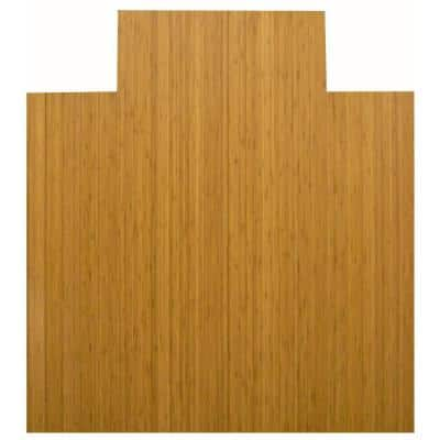 Standard Natural Light Brown 44 in. x 52 in. Bamboo Roll-Up Office Chair Mat with Lip