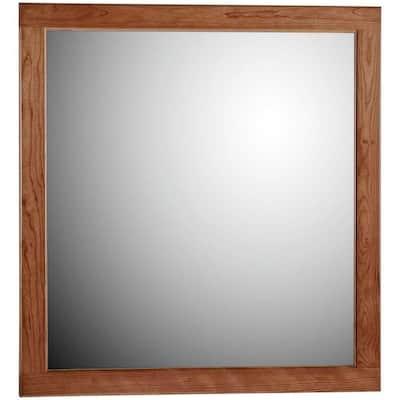 Ultraline 30 in. W x 32 in. H Framed Rectangular Bathroom Vanity Mirror in Medium alder finish