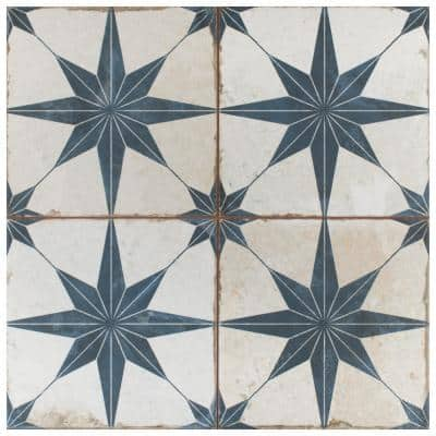 Kings Star Blue Encaustic 17-5/8 in. x 17-5/8 in. Ceramic Floor and Wall Tile (11.02 sq. ft./Case)