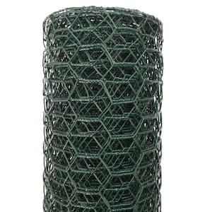 1 in. x 24 in. x 25 ft. Vinyl Coated Galvanized Steel Poultry Netting in Green