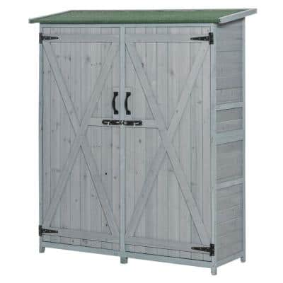 19.75 in. x 55 in. x 63.75 in. Natural Wooden Garden Storage Shed with Locking Door and Interior Shelves