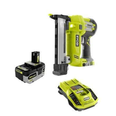 ONE+ 18V AirStrike 18-Gauge Cordless Narrow Crown Stapler with HIGH PERFORMANCE Lithium-Ion 4.0 Ah Battery & Charger Kit