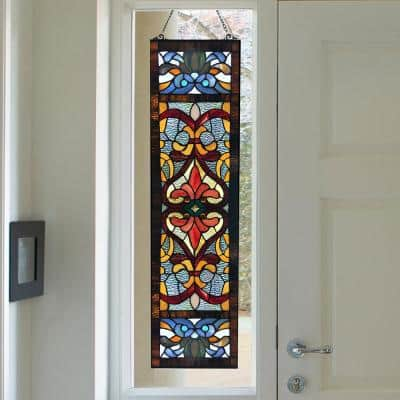 Red Victorian Stained Glass Fleur De Lis Window Panel