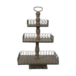 Libby Grey Wash Wood and Metal 3-Tier Tray