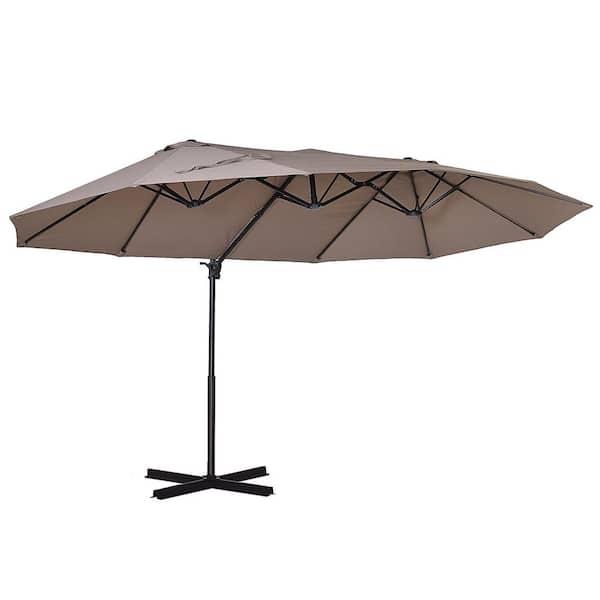 W Steel Cantilever Patio Umbrella, Large Tilting Patio Umbrella