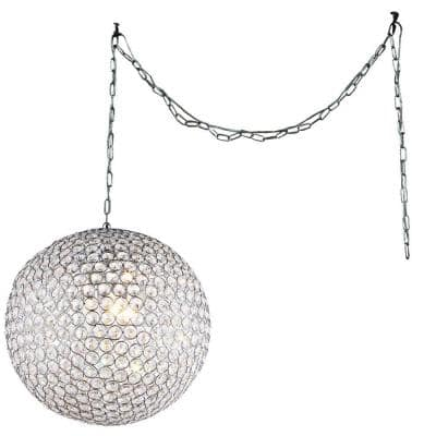 Jessie 3-Light Chrome Indoor 12 in. Round Crystal Swag Chandelier with Shade