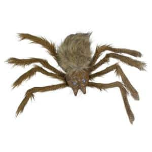 24 in. Brown Floating Spider with LED Eyes Halloween Decoration