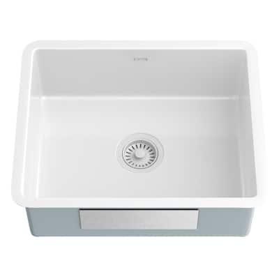 Pintura Undermount Porcelain Enamel Steel 21 in. Single Bowl Kitchen Sink in White