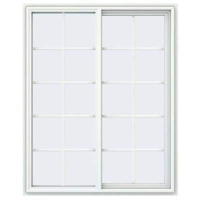 47.5 in. x 59.5 in. V-4500 Series White Vinyl Right-Handed Sliding Window with Colonial Grids/Grilles