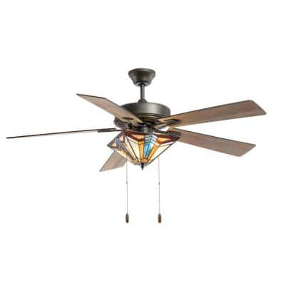 Larkin Tiffany Style 52 in. Indoor Oil Rubbed Bronze and Stained Glass Ceiling Fan with Light