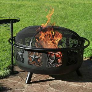 36 in. W x 22.5 in. H Round Steel Wood Burning Fire Pit with Cooking Grate and Spark Screen