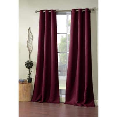 Burgundy Thermal Rod Pocket Blackout Curtain - 38 in. W x 84 in. L