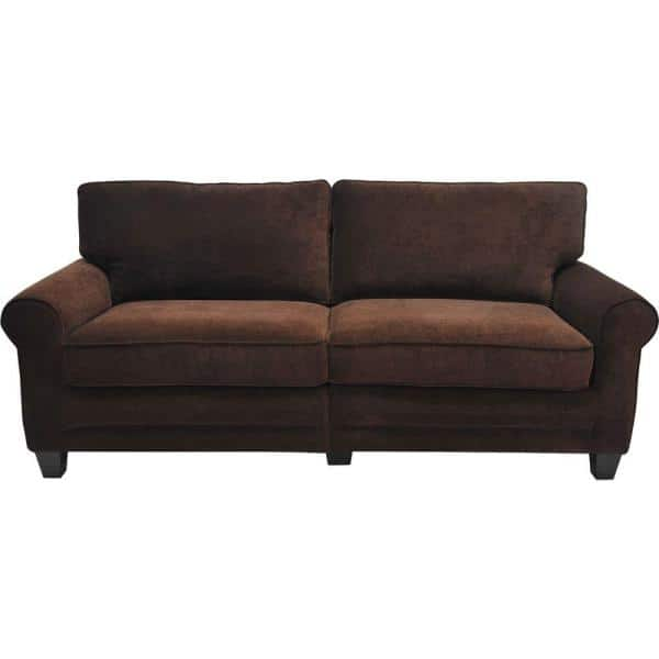 Serta RTA Trinidad 73 in. Espresso/Brown Polyester 2-Seater Sofa with Removable Cushions | The Home Depot
