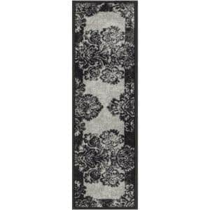 Kings Court Greek Key Grey Modern Damask Rubber Back Non-Skid 9 in. x 31 in. Stair Tread Cover (Set of 7)