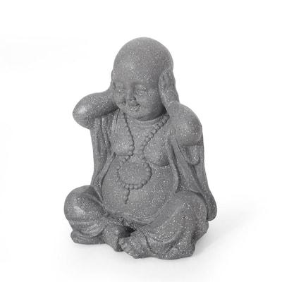 Thiago 12.25 in. Outdoor Hear No Evil Monk Garden Statue