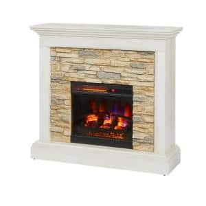 Whittington 40 in. Freestanding Electric Fireplace in Tan with Tan Faux Stone