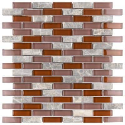 Tessera Subway Bordeaux 10-3/4 in. x 11-3/4 in. Glass and Stone Mosaic (8.97 sq. ft./Case)
