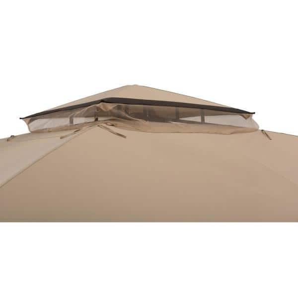 Sunjoy Wynonna 11 Ft X 13 Ft Tan And Brown Gazebo With Led Lighting And Bluetooth Sound 169292 The Home Depot