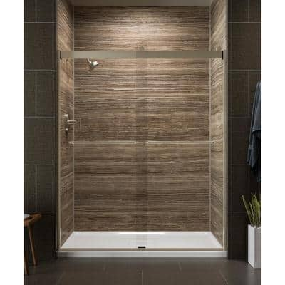Levity 59 in. x 74 in. Frameless Sliding Shower Door in Bronze finish with Handle