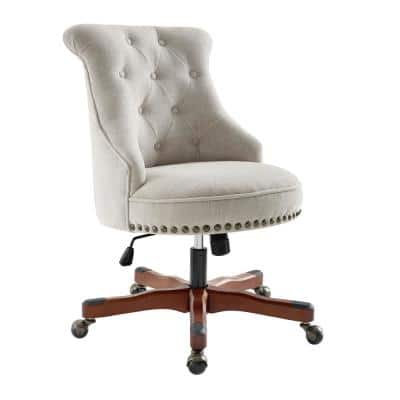 Sinclair 23 in. Width Standard Walnut/Brown Fabric Task Chair with Adjustable Height