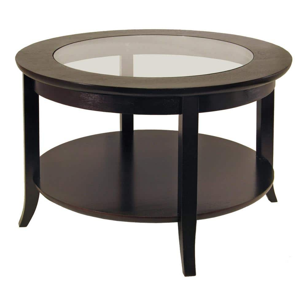 Winsome Wood Genoa 30 In Espresso Medium Round Composite Coffee Table With Shelf 92219 The Home Depot [ 1000 x 1000 Pixel ]