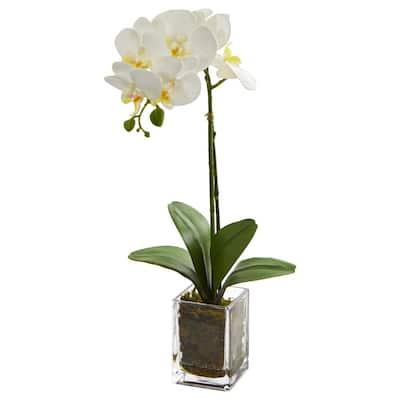 Indoor 24 in. Orchid Phalaenopsis Artificial Arrangement in Vase