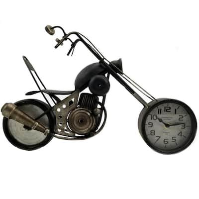 Black Metal Motorcycle Table Clock