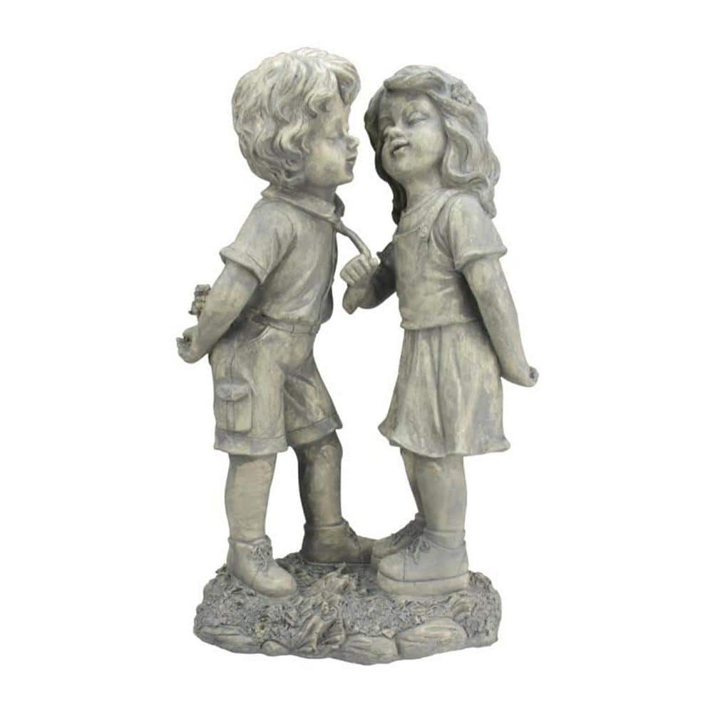 Northlight 18 1 2 In Boy And Girl First Kiss Statue 32231698 The Home Depot