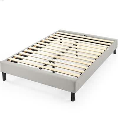 Curtis Light Grey Queen Upholstered Platform Bed Frame