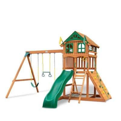 DIY Outing III Wooden Playset with Wood Roof, Wave Slide and Rock Wall