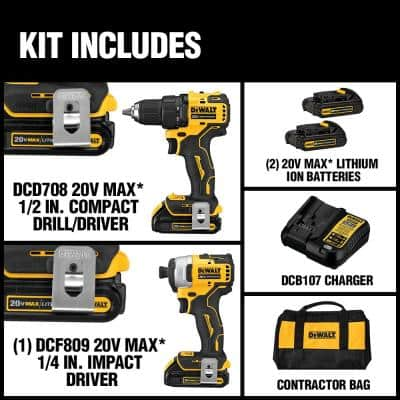 ATOMIC 20-Volt MAX Cordless Brushless Compact Drill/Impact Combo Kit (2-Tool) with (2) 1.3Ah Batteries, Charger & Bag
