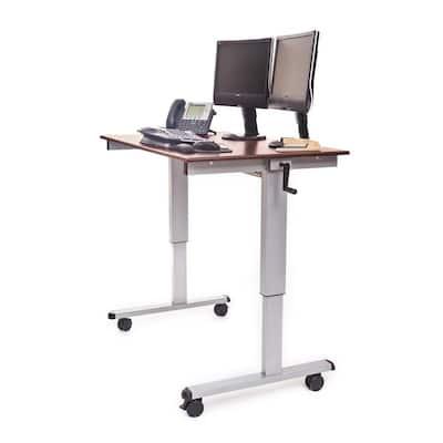 47.3 in. Rectangular Silver/Dark Walnut Standing Desks with Adjustable Height