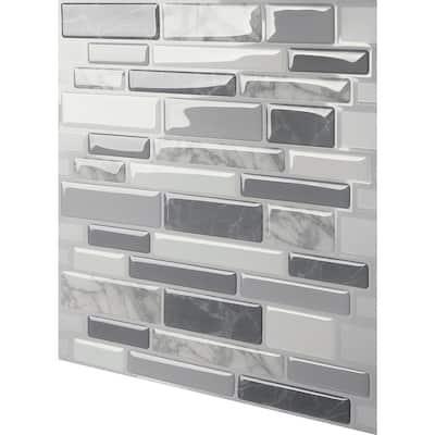 Polito Gray 10 in. W x 10 in. H Multi-Color Peel & Stick Self-Adhesive Decorative Mosaic Wall Tile Backsplash (10-Tiles)