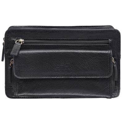 Arizona 9 in. W x 4 in. D x 5.5 in. H Black Leather Crossbody Bag with Zippered Organizer Pocket