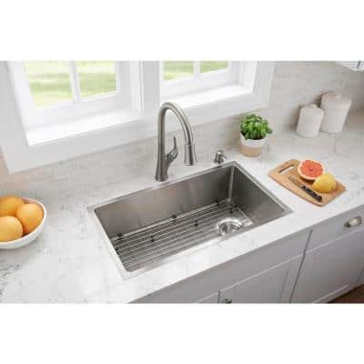 All-in-One Tight Radius Stainless Steel 31 in. 18-Gauge Single Bowl Undermount Kitchen Sink with Pull Down Faucet