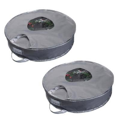 12 Gal. 24 in. Holiday Wreath Bag in Gray (2-Pack)