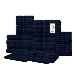 A1HC Feather Touch Quick Dry 34-Piece Insignia Blue Solid 100% Organic Cotton 700 GSM Towel Set