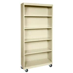 78 in. Putty Metal 5-shelf Cart Bookcase with Adjustable Shelves