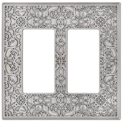 Momfort 2 Gang Rocker Metal Wall Plate - Satin Nickel