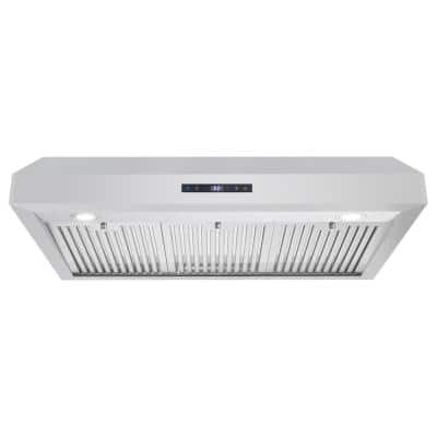 36 in. Ducted Under Cabinet Range Hood in Stainless Steel with Touch Display and Permanent Filters