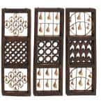 Eclectic 36 in. Textured Iron and Wood Wall Panels With Hanging Bell Montages (Set of 3)