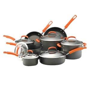 Classic Brights 14-Piece Hard-Anodized Aluminum Nonstick Cookware Set in Orange and Gray