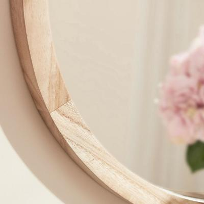 Medium Round Brown Natural Wood Transitional Accent Mirror (24 in. Diameter)
