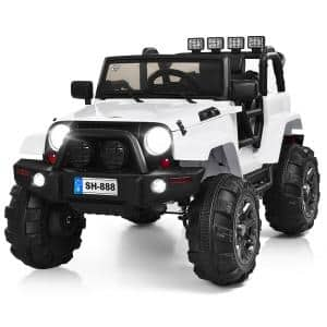 12-Volt Kids Ride On Truck Car with Remote Control MP3 Music LED Lights White