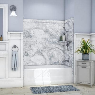 Elite 32 in. x 60 in. x 60 in. 9-Piece Easy Up Adhesive Tub Surround in Everest
