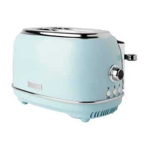 Heritage 900-Watt 2-Slice Wide Slot Turquoise Retro Toaster with Removable Crumb Tray and Adjustable Settings
