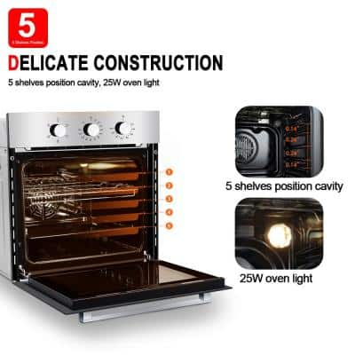 24 in. Single Built-in Electric Oven, 5 Cooking Functions Wall Oven, Mechanical Knobs Control in Stainless Steel